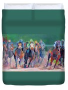 And Down The Stretch They Com Duvet Cover by Kimberly Santini