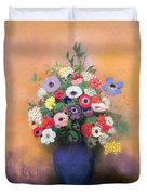 Anemones And Lilac In A Blue Vase Duvet Cover by Odilon Redon