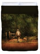 Animal - Dog - A Man And His Best Friend Duvet Cover by Mike Savad