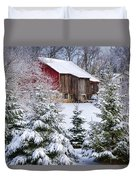 Another Wintry Barn Duvet Cover by Joan Carroll