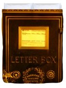 Antique Letter Box At The Brown Palace Hotel Duvet Cover by John Malone