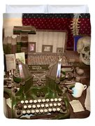 Antique Oliver Typewriter on Old West Physician Desk Duvet Cover by Janice Rae Pariza