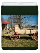 Antique Wagon And Mountain Cabin 1 Duvet Cover by Douglas Barnett