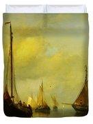 Antonie Waldorp Vissersboten Op Kalm Water Duvet Cover by MotionAge Designs