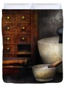 Apothecary - Pestle and Drawers Duvet Cover by Mike Savad