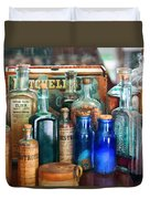 Apothecary - Remedies For The Fits Duvet Cover by Mike Savad