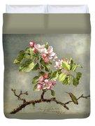 Apple Blossoms And A Hummingbird Duvet Cover by Martin Johnson Heade