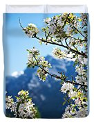 Apple Blossoms Frame The Rockies Duvet Cover by Lisa Knechtel