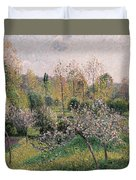 Apple Trees In Blossom Duvet Cover by Camille Pissarro