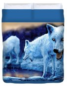 Arctic White Wolves Duvet Cover by Mal Bray