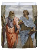Aristotle And Plato Detail Of School Of Athens Duvet Cover by Raffaello Sanzio of Urbino