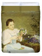 Arranging Flowers For A Spring Bouquet Duvet Cover by Victor Gabriel Gilbert