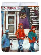 Art Of Verdun Depanneur Deli Patisserie Fleuriste Fruits Montreal Paintings Hockey Art Scenes Verdun Duvet Cover by Carole Spandau