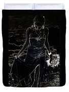 As Aphrodite Coming From Sea Foam. Black Art Duvet Cover by Jenny Rainbow