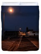 Asbury Park Boardwalk at Night Duvet Cover by Bill Cannon