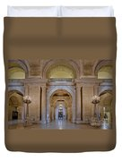 Astor Hall At The New York Public Library Duvet Cover by Susan Candelario