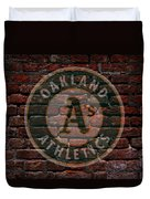 Athletics Baseball Graffiti On Brick  Duvet Cover by Movie Poster Prints