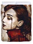 Audrey Hepburn - Quiet Sadness Duvet Cover by Olga Shvartsur