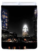 Austin Night Skyline Reflections Duvet Cover by Gary Gibich