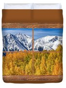 Autumn Aspen Tree Forest Barn Wood Picture Window Frame View Duvet Cover by James BO  Insogna