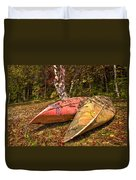 Autumn Canoes Duvet Cover by Debra and Dave Vanderlaan