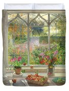 Autumn Fruit And Flowers Duvet Cover by Timothy  Easton