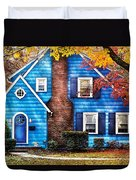 Autumn - House - Little Dream House  Duvet Cover by Mike Savad