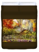 Autumn - House - On The Way To Grandma's House Duvet Cover by Mike Savad