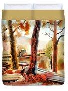 Autumn Jon Boats II Duvet Cover by Kip DeVore