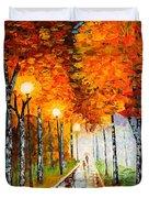 Autumn Park Night Lights Palette Knife Duvet Cover by Georgeta  Blanaru