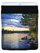Autumn Sunset At Lake Duvet Cover by Elena Elisseeva