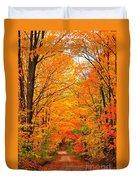Autumn Tunnel Of Trees Duvet Cover by Terri Gostola