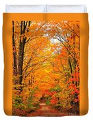 Autumn Tunnel Of Trees Duvet Cover by Terri Gostola
