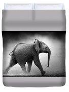 Baby Elephant Running Duvet Cover by Johan Swanepoel
