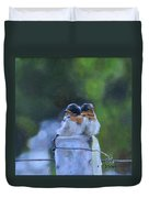Baby Swallows On Post Duvet Cover by Donna Tuten