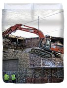 Backhoe Demolition Duvet Cover by Daniel Hagerman