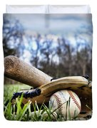 Backyard Baseball Memories Duvet Cover by Cricket Hackmann