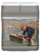 Bailing Out The Boat Duvet Cover by William Marshall Brown