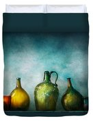 Bar - Bottles - Green Bottles  Duvet Cover by Mike Savad