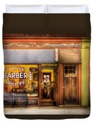 Barber - Towne Barber Shop Duvet Cover by Mike Savad