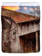 Barn At Sunset Duvet Cover by Brett Engle