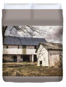 Barn Near Utica Mills Covered Bridge Duvet Cover by Joan Carroll