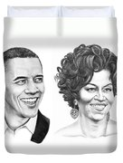 Barrack And Michelle Obama Duvet Cover by Murphy Elliott