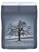 Barren Winter Scene With Tree Duvet Cover by Dan Friend