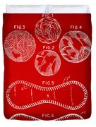 Baseball Construction Patent - Red Duvet Cover by Nikki Marie Smith