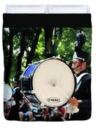 Bass Drums On Parade Duvet Cover by Susan Savad