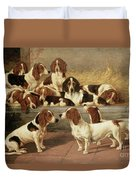 Basset Hounds In A Kennel Duvet Cover by VT Garland