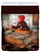Bazaar - I Sell Fish  Duvet Cover by Mike Savad