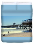 Beach View With Pier 1 Duvet Cover by Ben and Raisa Gertsberg