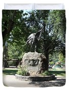Bear Flag Statue At Sonoma Plaza In Downtown Sonoma California 5D24432 Duvet Cover by Wingsdomain Art and Photography